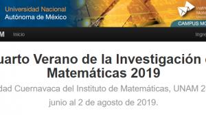 Cuarto-Verano-Investigación-en-Matemáticas 2019-UNAMGlobalR