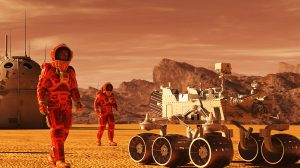 Mars-colony. Expedition on alien planet. Life on Mars. 3d Illustration-UNAMGlobal
